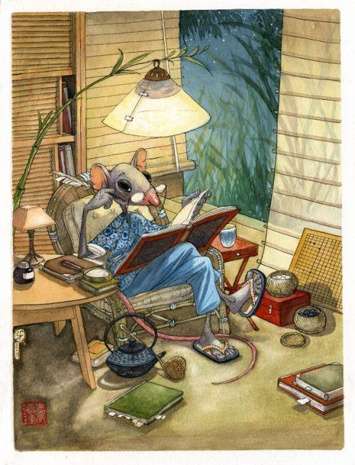 Todas las noches un poco de lectura antes de dormir: puro relax (ilustración de Fred Saurel)