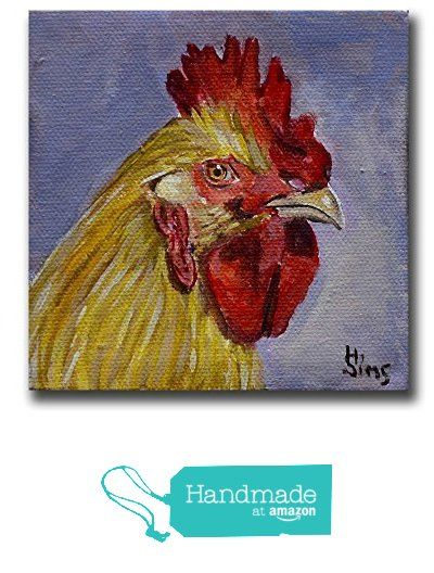 Chicken Portrait Art Print for your Rooster Farmhouse Kitchen Decor, matted size options from Heather Sims Art https://www.amazon.com/dp/B016J8BHGW/ref=hnd_sw_r_pi_dp_zIT6ybNDPJKVX #handmadeatamazon