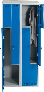 Klädskåp Z-modell (4 d), blå, 1920/1830x800x550 mm. Z-modellen ger klädskåp för fyra personer på en liten yta. Som tillval finns bänk och/eller ben.