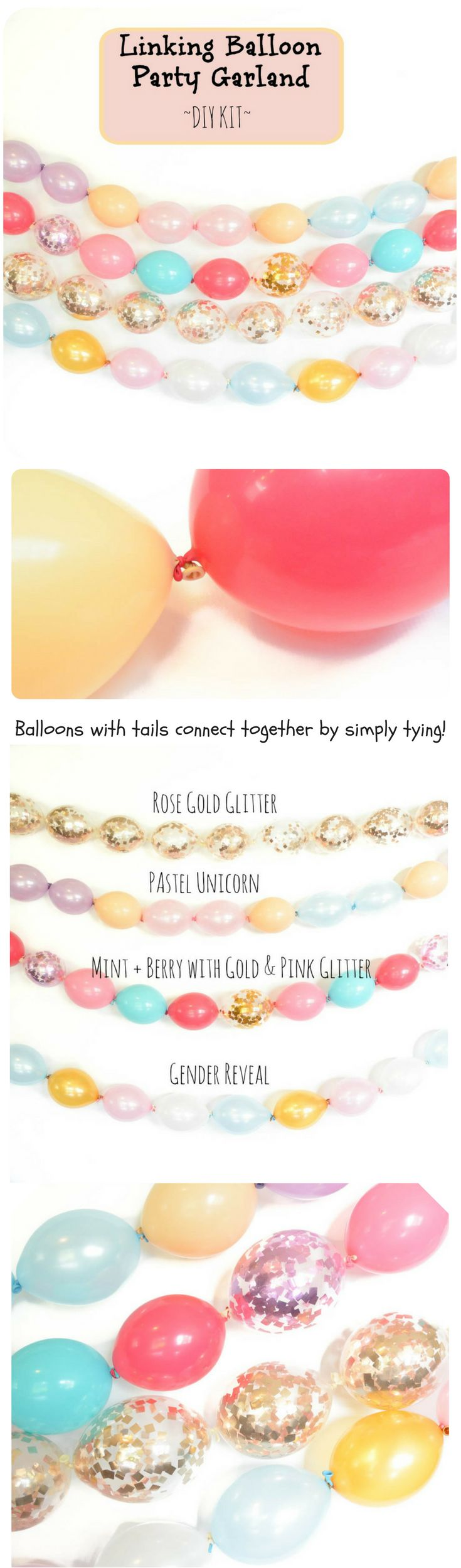 Make your own linking balloon chain party garland....adorable and easy party decor!  Customize your Party colors!  unicorn party, Pastels, Gender Reveal, and Rose gold glitter!