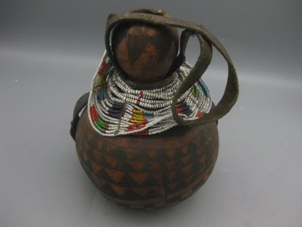 Antique African Kenya Maasai Carved Gourd with Leather Strap