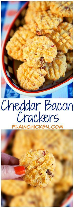 Cheddar Bacon Crackers - quick homemade bacon and cheddar cheese crackers. Use your food processor and the dough is ready in a minute! The recipe makes about 4 1/2 dozen - perfect for a party! They are always the first thing to go! (homemade christmas cookie recipes parties)