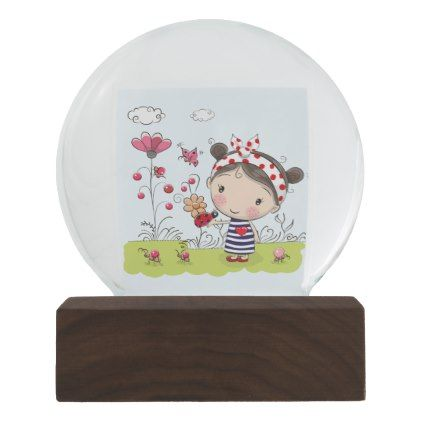 Cute Cartoon Girl with Ladybug in Garden Scene Snow Globe - white gifts elegant diy gift ideas