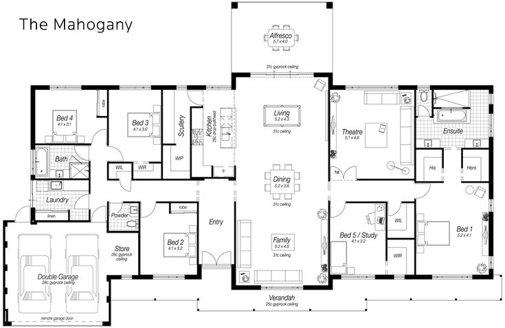 5 bed Single Storey House Designs Perth | The Mahogany | Ross North Homes