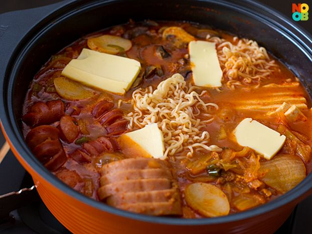 Easy recipe with step-by-step photos for making Korean army stew (부대찌개), a popular Korean hot pot meal.