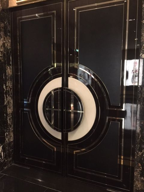 PHOTO 2 - This is a set of beautiful wooden doors with a gloss framed finish can be seen at the Crown Towers lobby. The colour and materials used give off a Great Gatsby feel.