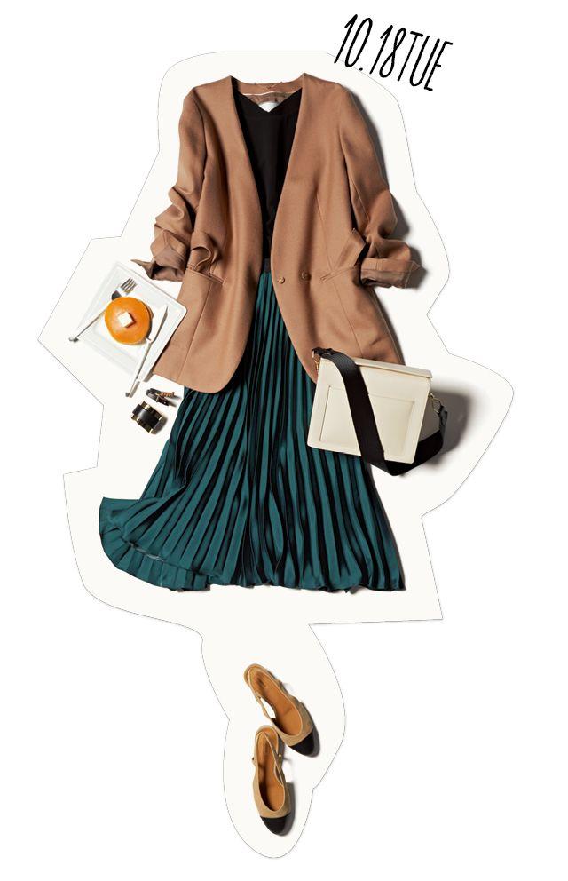 今季豊富な胸元がすっきりVラインのジャケットは、きちんと感としゃれ感を両立できる凄腕アイテム。トレンドの華やかプリーツスカートと合わせれば、たちまち女っぷりの高い通勤スタイルに。ジャケットのインは黒ノースリーブで、少しセクシーに寄せるのがオススメ。会社帰りにジャケットを肩掛けすれ・・・