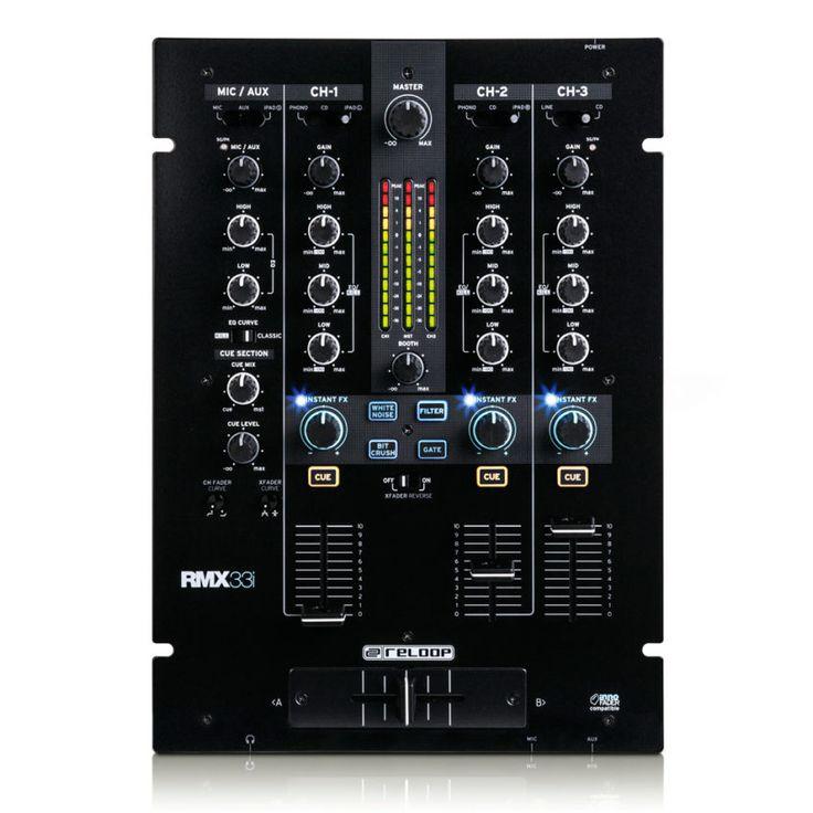 El Reloop RMX-33i es una mezcladora de DJ de 3+1 canales con una arquitectura de audio digital y unos efectos de sonido y color instantáneos integrados.