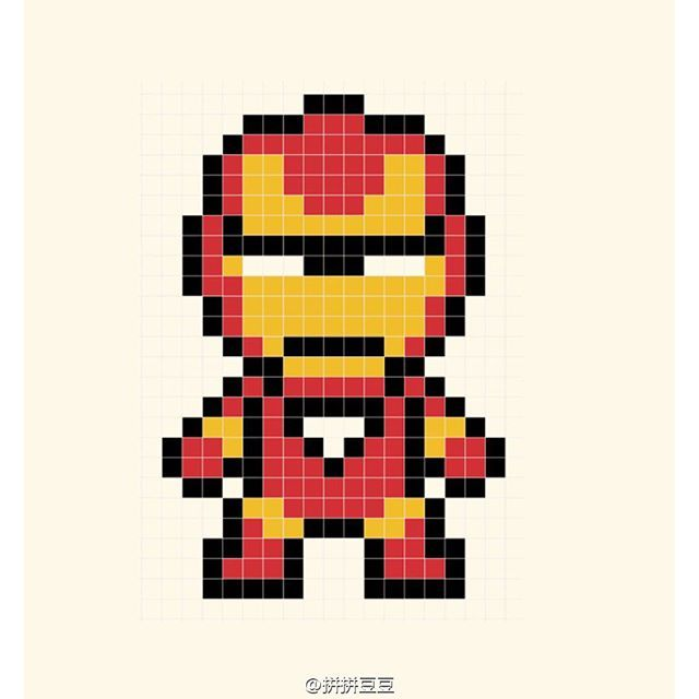 Iron Man Perler Bead Pattern