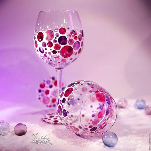 Бокалы, стаканы ручной работы. Ярмарка Мастеров - ручная работа. Купить Винные бокалы - Нежность. Handmade. Фуксия, подарок на свадьбу