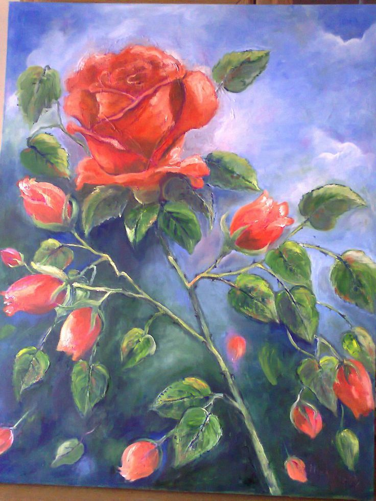 Rose bloom in oils by Micky Fritz