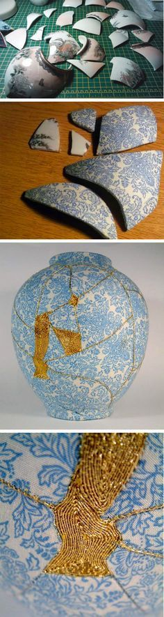 Artist Mimics Japanese 'Kintsugi' Technique to Repair Broken Vases with Embroidery