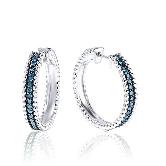 0.50ct Natural Blue Diamond 10K Solid White Gold Beaded Hoop Earrings #gemdepot #Hoop #BlackFridaysDeals