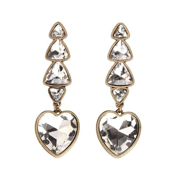 Fashion Drop Earrings - Yuri Triangle Gem Earrings With Heart Crystal Drop Design