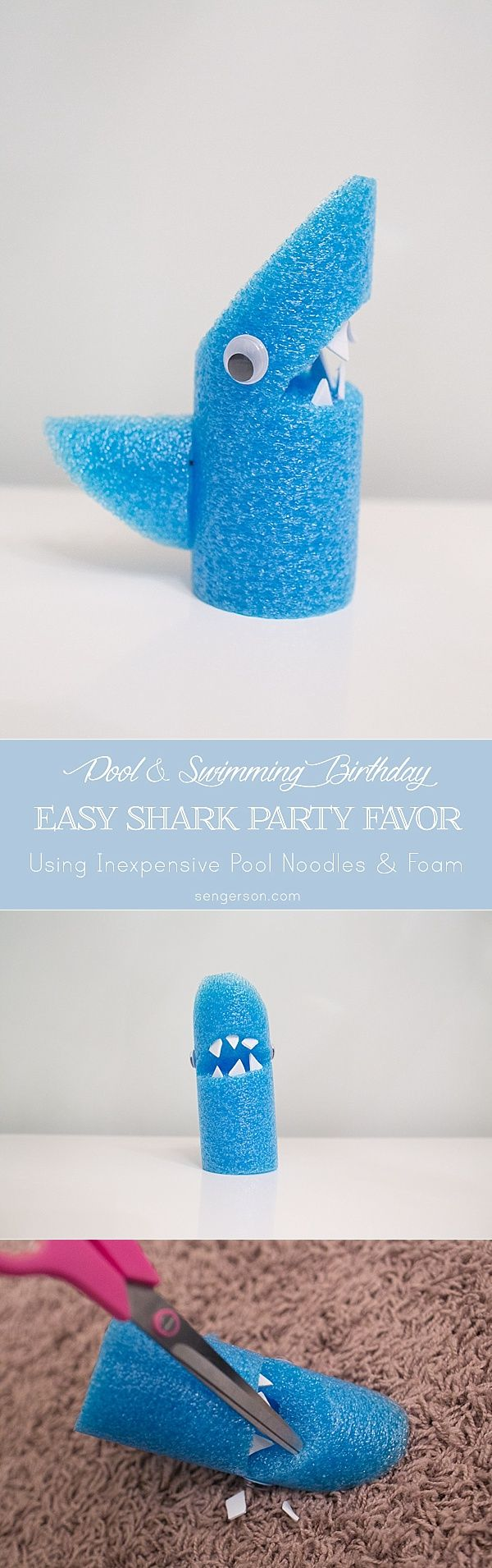 Shark themed party favor and shark themed party decor ideas for a fun party! Pool Noodle Shark idea!