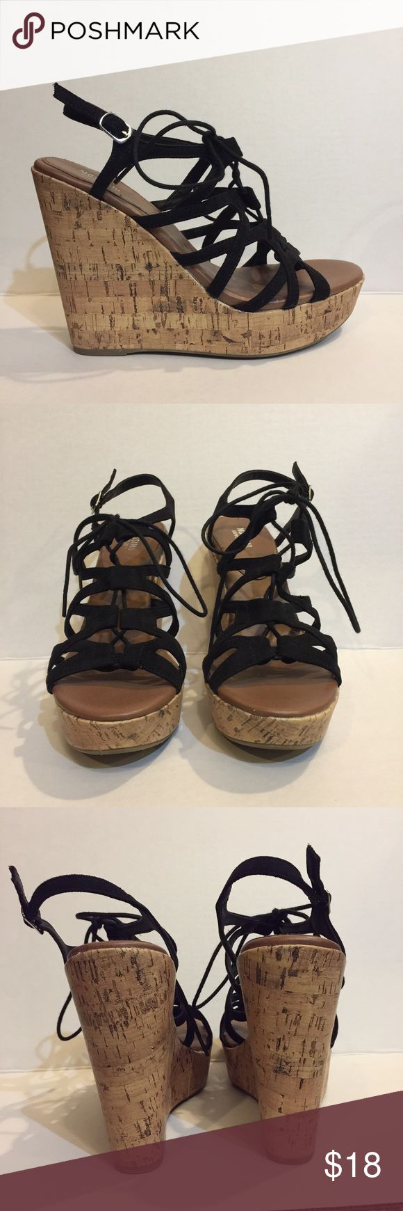 🔥Sexy Lace Up Wedges These lace up wedges are perfect for your night on the town, spring vacation, or just dressing up for fun! Only worn once and in perfect condition Mossimo Supply Co. Shoes Wedges