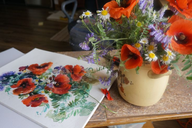 home watercolor. poppy