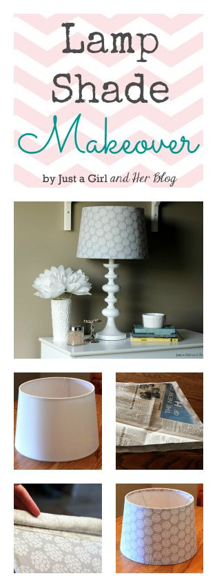Lamp Shade Makeover with Fabric by Just a Girl and Her Blog. I can't believe this used to be a plain white lamp shade! Simple tutorial with gorgeous results!