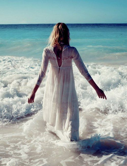 .Beach Dresses, Summer Dresses, The Ocean, At The Beach, Planets Blue, Into The Blue, White Dresses, The Waves, The Sea