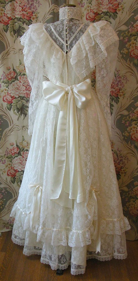 Wedding Gown Vintage 80s 1980s Jessica by VintageClothingandCo