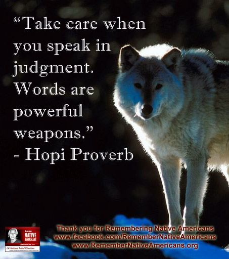 """""""Take care when you speak in judgment. Words are powerful weapons."""" - Hopi Proverb  #native #proverb"""