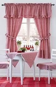 Resultado de imagen para red and white kitchen curtains