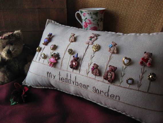 My Teddy Bear Garden Pillow Cottage Style от PillowCottage на Etsy