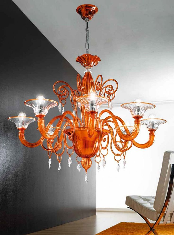 Orange And Clear Murano Glass Chandelier MLL972K8
