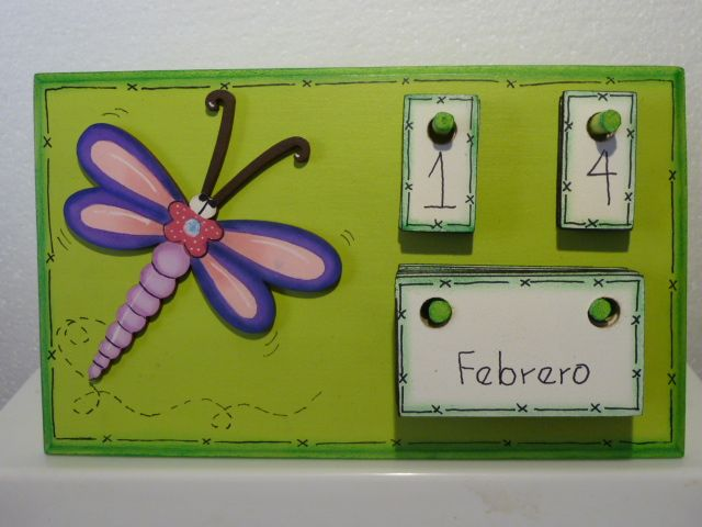 Calendario con libelula en mdf madeiras macamno1 hotmail - Trabajos manuales en madera ...