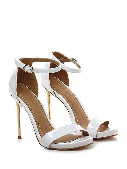 Carrano - Sandalo alto - Donna - Sandalo alto in vernice con cinturino alla caviglia e suola in gomma. Tacco 110, platform 15 con battuta 95. Tacco metallico. - WHITE - € 198.00