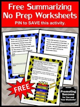 """You will download FREE printable summarizing worksheets or teaching 3rd, 4th or 5th grade (upper elementary) Common Core lesson plans. They work well for teaching in your literacy centers or stations for a scavenger hunt, games of SCOOT or other fun activities. You may use them as a review, test prep, formative assessment or as extra practice for special education, ESL, autism or speech and language therapy. You will receive two summarizing worksheets for students to answer """"Who?"""" and"""