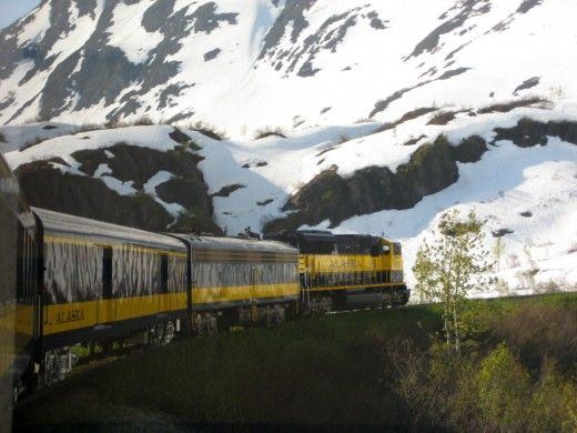 The Alaska Railroad rounds a bend in its ascent up the S curves towards Grandview - Full review of the Alaska Railroad's Coastal Classic Train