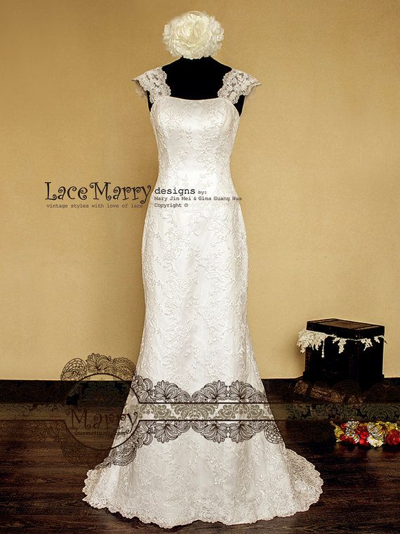Lace Overlay Slim A-Line Style Wedding Dress Features door LaceMarry