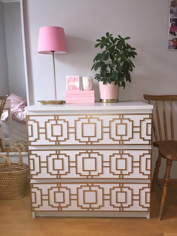 Beautiful ikea hack with furniture decor Livia in gold. Picture from a customer #inredning#frontcover#Möbeldekor#furnituredecor