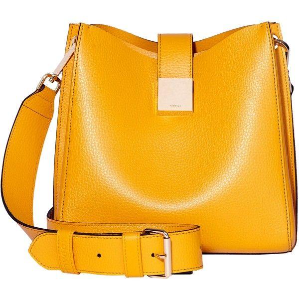 Modalu Megan Leather Mini Bucket Bag (715 PEN) ❤ liked on Polyvore featuring bags, handbags, yellow, yellow handbags, mini purse, orange leather handbag, bucket purse and genuine leather handbags