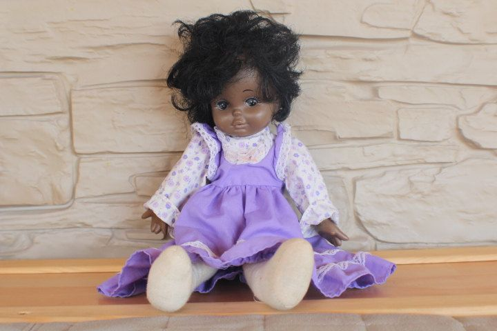 Vintage African American Doll made in Korea, Plush Vinyl Doll, Soft Body by…