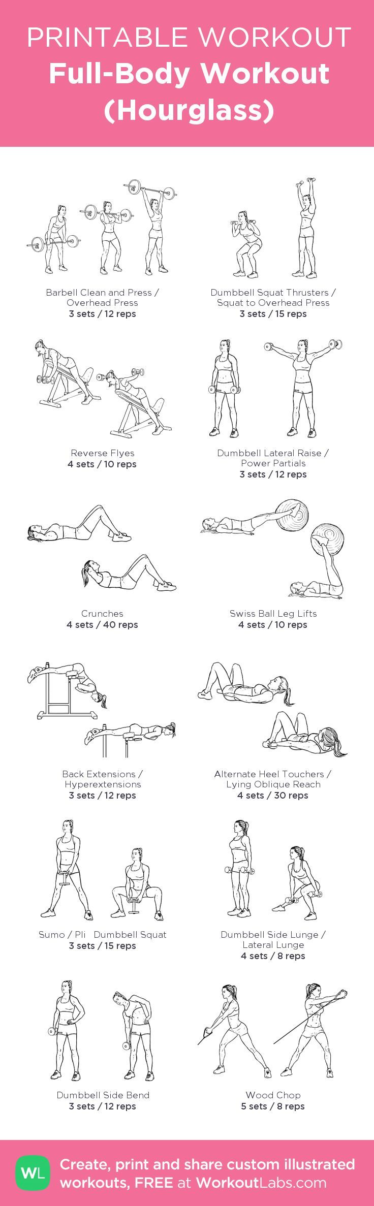 Full-Body Workout (Hourglass): my visual workout created at WorkoutLabs.com • Click through to customize and download as a FREE PDF! #customworkout #SexyAbs