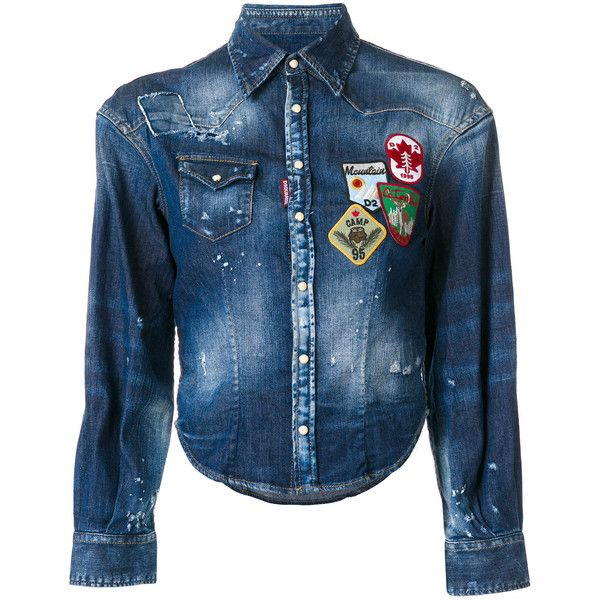 Dsquared2 patch denim shirt (16,750 HNL) ❤ liked on Polyvore featuring tops, blue, blue long sleeve shirt, short sleeve tops, short sleeve crop top, denim crop top and long sleeve denim shirt