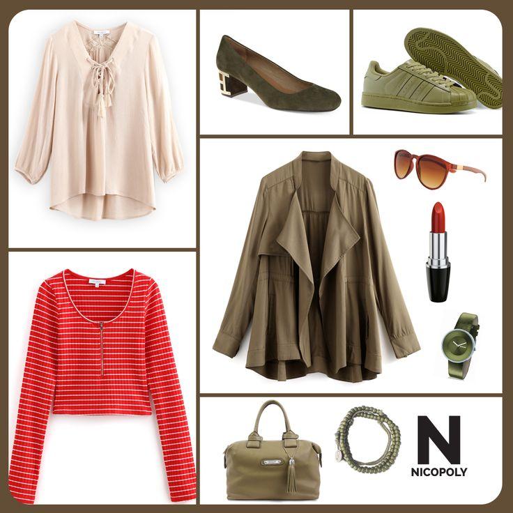 La chaqueta verde oliva es ideal para combinar con la polera o blusa Nicopoly que tú quieras.