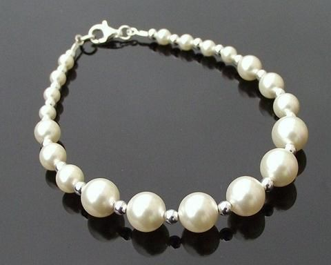 Graduated Pearl & Sterling Silver Bracelet, Classic