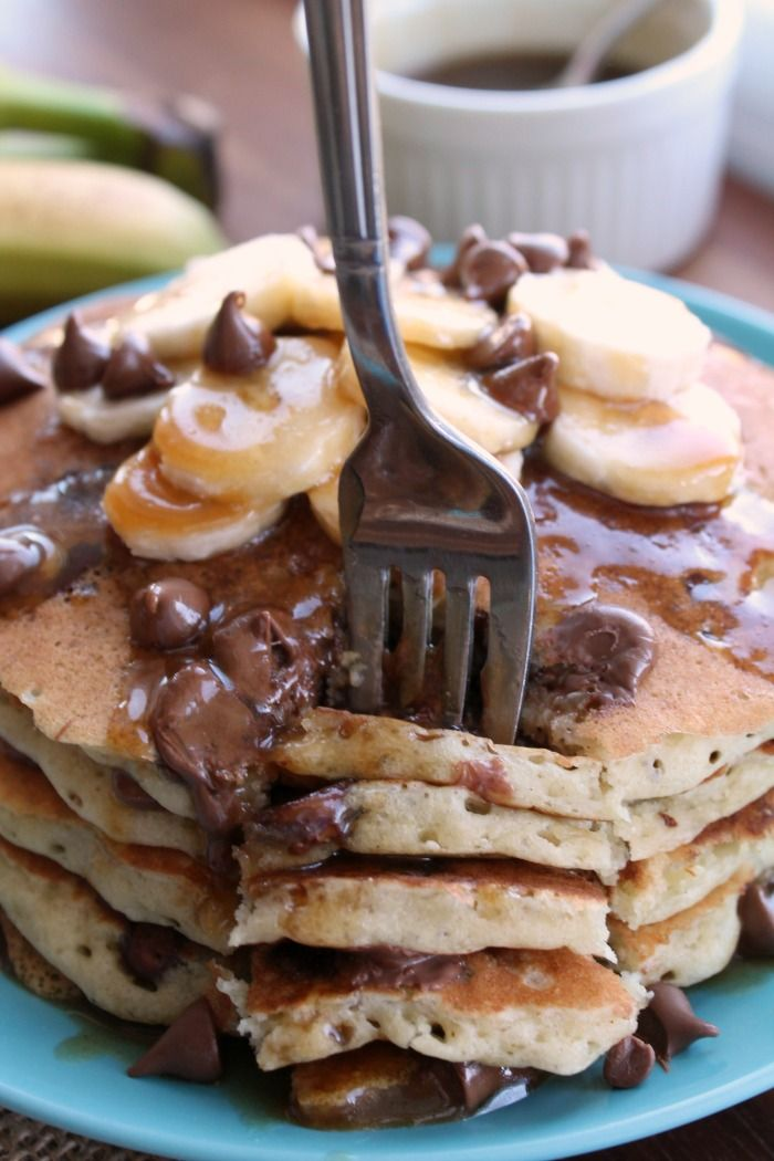 Easiest, tastiest way to make your family feel extra special. These Diner Style Banana Chocolate Chip pancakes couldn