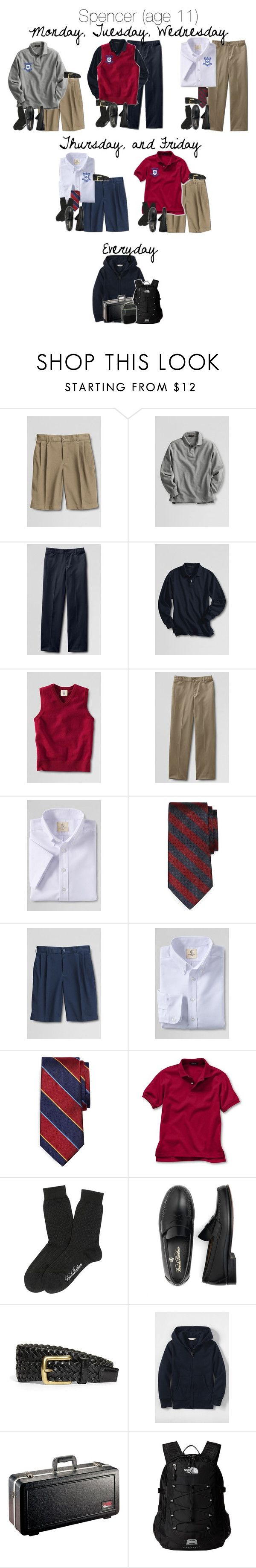 """A Week In April: Spencer for School"" by teamboby ❤ liked on Polyvore featuring Lands' End, Brooks Brothers, The North Face, men's fashion, menswear, uniform, boys and kids"