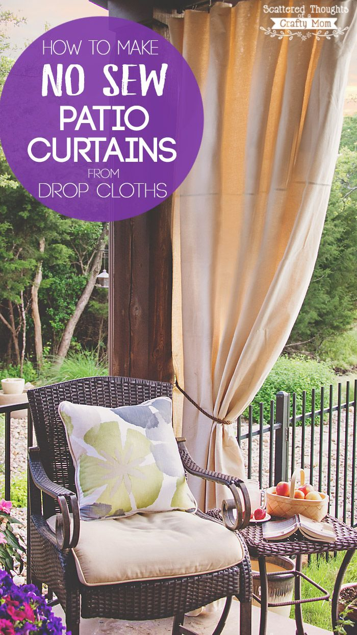 These DIY Patio Curtains from drop cloths are a simple solution for the sun beating down on your patio? Bonus: you can make them with no sewing