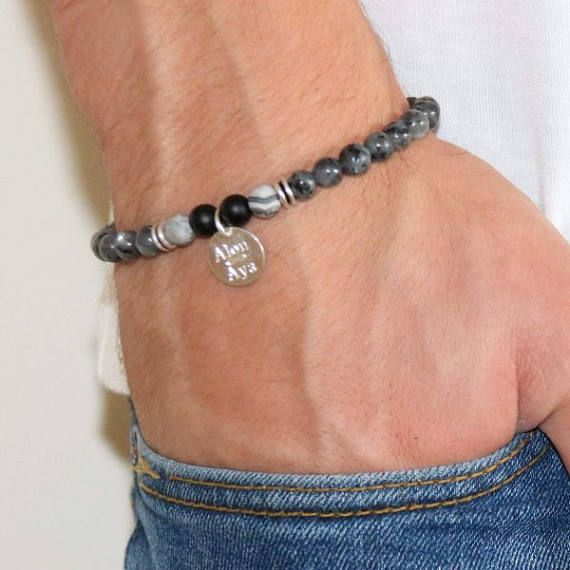 Men's Personalized Bracelet - Men's Engraved Bracelet - Customized Men Bracelet - Men's Initial Bracelet - Men's Personalized gift  The simple and beautiful bracelet combines labradorite gemstone beads and a sterling silver coin which you can engrave on it names, dates, symbols ... $48
