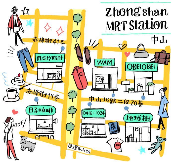 Naho Ogawa - Taipei shopping map