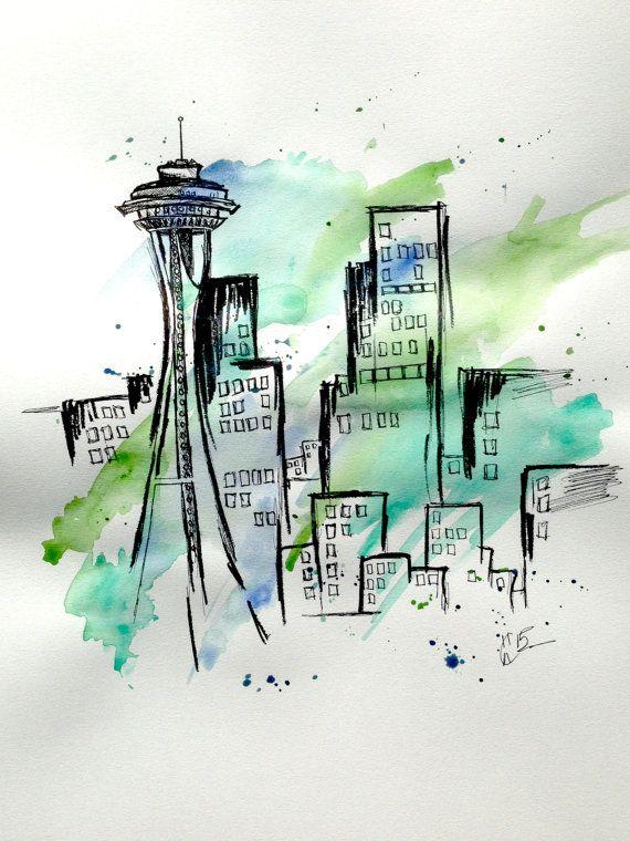 ORIGINAL Seattle skyline watercolor by TheAlternativeArtist