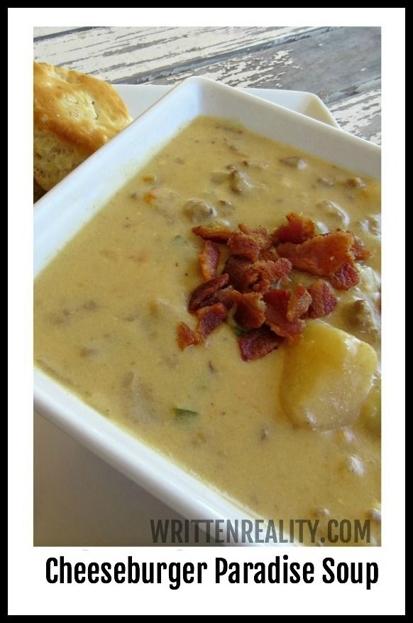 This Cheeseburger Paradise Soup Recipe  is hearty and delicious!  {writtenreality.com}