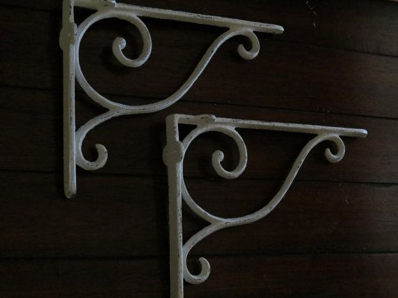 Cast Iron Shelf Brackets / Ornate Scrolled Brackets/ Shabby Chic Cottage Home Decor / Indoor Outdoor / Antique White or Pick Color