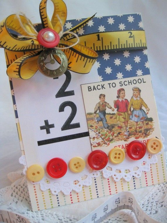 Back to school handmade card by cherrysjubileecards on Etsy