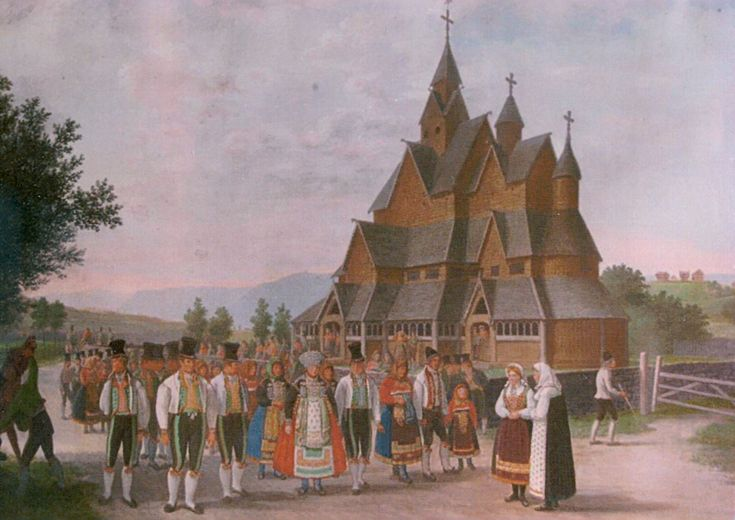 Stave church Heddal, Johannes Flintoe, 1828